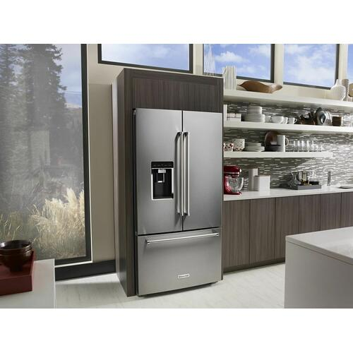 """KitchenAid - 23.8 cu. ft. 36"""" Counter-Depth French Door Platinum Interior Refrigerator with PrintShield™ Finish - Stainless Steel with PrintShield™ Finish"""