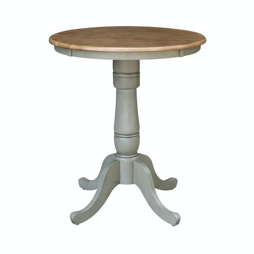"30"" Pedestal Table in Hickory/Stone"
