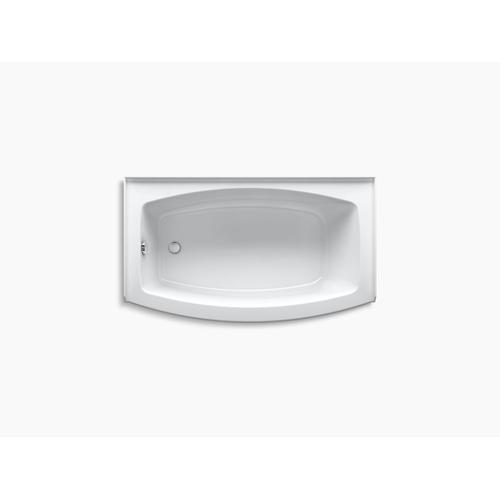 """White 60"""" X 30-36"""" Curved Alcove Bath With Integral Flange and Left-hand Drain"""