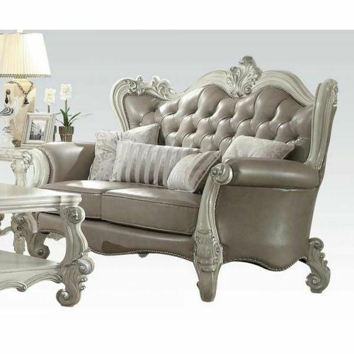ACME Versailles Loveseat w/4 Pillows - 52126A - Vintage Gray PU & Bone White