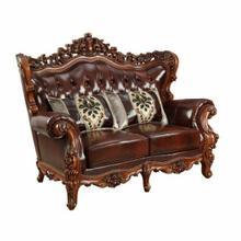 ACME Eustoma Loveseat w/2 Pillows - 53066 - Cherry Top Grain Leather Match & Walnut