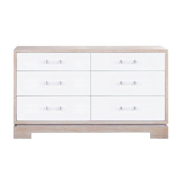 Dressed In Matte White Lacquer and Natural Cerused Oak, This Mid-century Modern Chest Makes A Bold Yet Classic Statement With Its Clean, Architectural Style and Contrasting Finish. as A Welcome Touch, the Streamlined, Acrylic Cylinder Pulls Evoke A High Style Appeal. Six Drawers Offer Generous Storage, Making This Piece as Utilitarian as It Is Handsome.