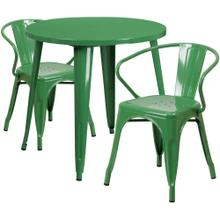 30'' Round Green Metal Indoor-Outdoor Table Set with 2 Arm Chairs