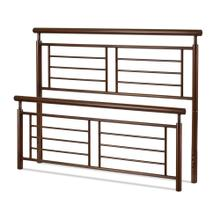See Details - Southport Metal Headboard and Footboard Bed Panels with Geometric Grills and Rounded Top Rails, Copper Penny Finish, Queen