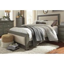 6/6 King Upholstered Headboard - Distressed Dark Gray Finish