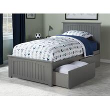 Nantucket Twin Bed with Matching Foot Board with 2 Urban Bed Drawers in Atlantic Grey