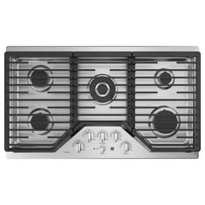 "GE Profile36"" Built-In Tri-Ring Gas Cooktop with 5 Burners and Included Extra-Large Integrated Griddle"