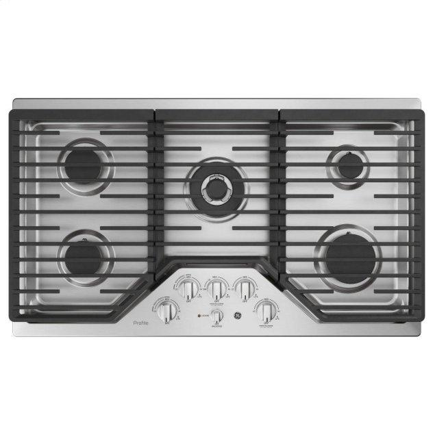 """GE Profile 36"""" Built-In Tri-Ring Gas Cooktop with 5 Burners and Included Extra-Large Integrated Griddle"""
