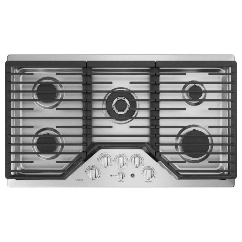 "36"" Built-In Tri-Ring Gas Cooktop with 5 Burners and Included Extra-Large Integrated Griddle"