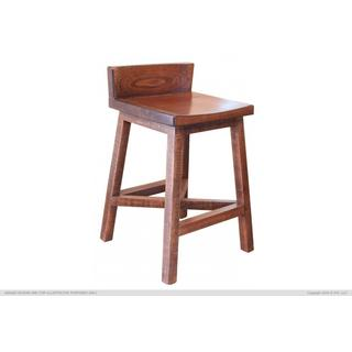 "24"" Stool - w/Wooden Seat & Base - Brown Finish"