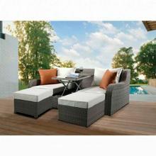 ACME Salena Patio Sectional & 2 Ottomans - 45010 - Beige Fabric & Gray Wicker