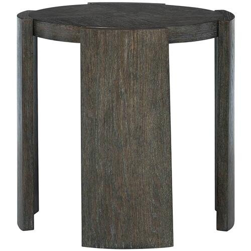 Linea Round Chairside Table in Cerused Charcoal (384)