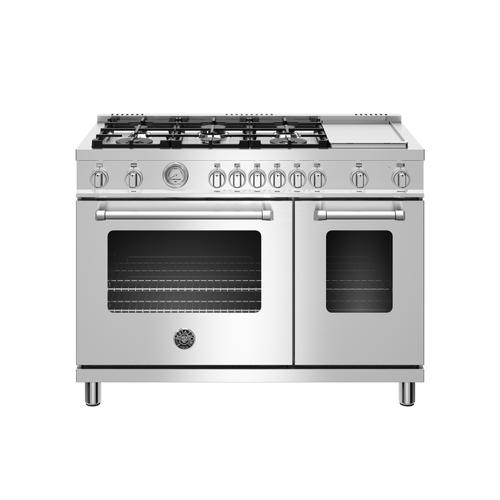 Bertazzoni - 48 inch All Gas Range, 6 Burner and Griddle Stainless Steel