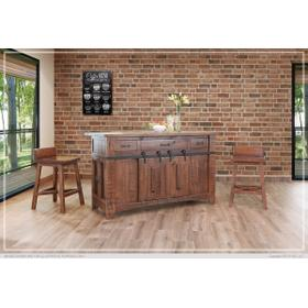 See Details - 3 Drawer Kitchen Island w/2 sliding doors, 2 Mesh doors on each side - functional casters.