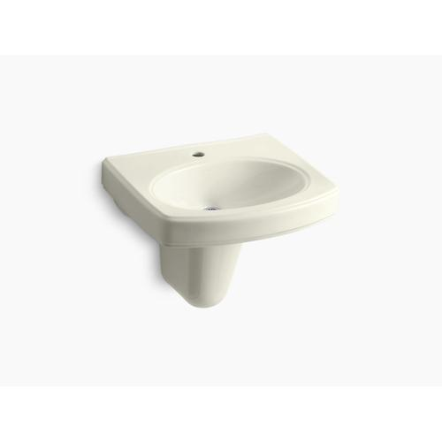 Biscuit Wall-mount Bathroom Sink With Single Faucet Hole