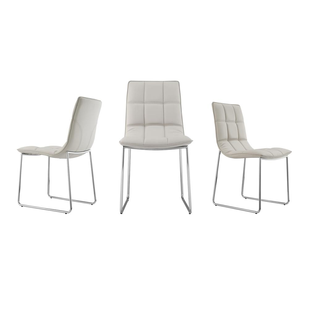 See Details - The Leandro Dining Chair In Light Taupe Pu-leather With Stainless Steel Base