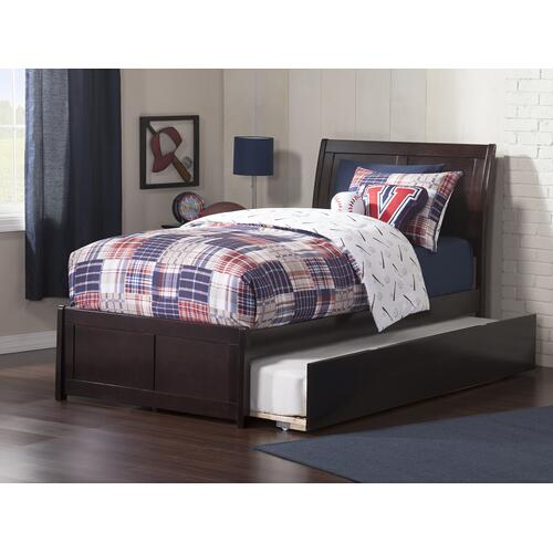Portland Twin Bed with Matching Foot Board with Urban Trundle Bed in Espresso