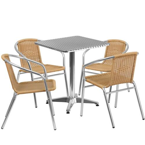 23.5'' Square Aluminum Indoor-Outdoor Table Set with 4 Beige Rattan Chairs
