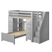 See Details - All in One Staircase Loft Bed Storage Storage + Twin Bed Grey