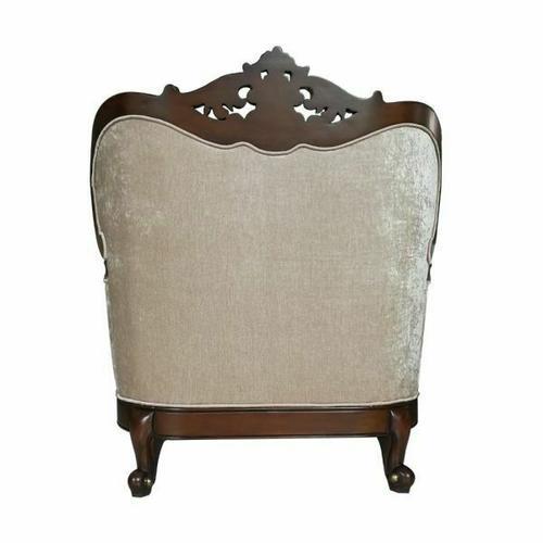 ACME Devayne Chair w/2 Pillows - 50687 - Fabric & Dark Walnut