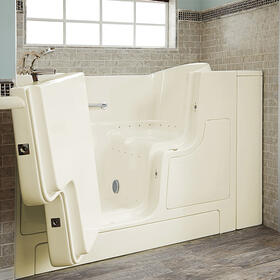Gelcoat Premium Series 30x52 Inch Walk-in Tub with Air Spa System and Outward Opening Door, Left Drain  American Standard - Linen
