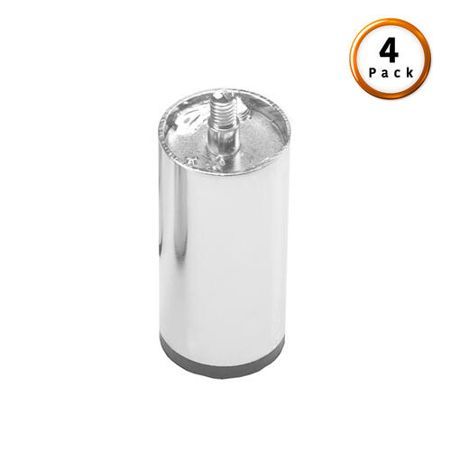 "3"" Chrome Metric Thread Cylinder Legs, 4-Pack"