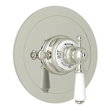 Edwardian Era Round Thermostatic Trim Plate without Volume Control - Polished Nickel with Metal Lever Handle