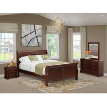 West Furniture Louis Philippe 4 Piece Queen Size Bedroom Set in Phillip Walnut Finish with Queen Bed,Nightstand ,Dresser, Mirror,