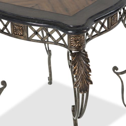 Sanchez End Table W/decorative Metal Base