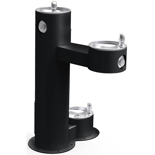 Elkay - Elkay Outdoor Fountain Bi-Level Pedestal with Pet Station, Non-Filtered Non-Refrigerated Black