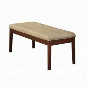 ACME Britney Bench - 17069 - Cream PU & Walnut