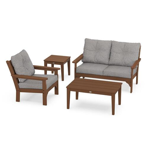 Vineyard 4-Piece Deep Seating Set in Teak / Grey Mist