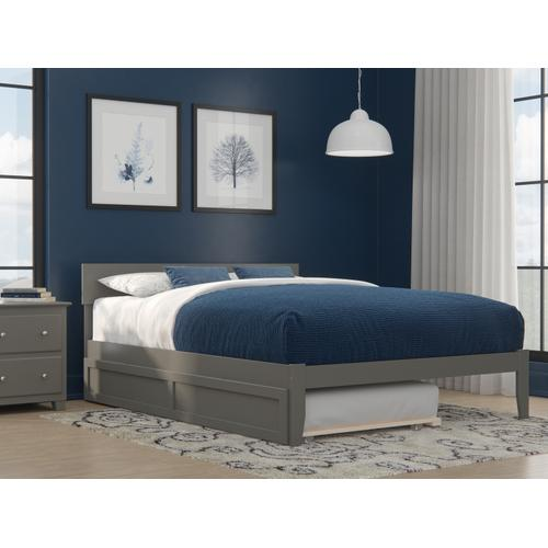 Atlantic Furniture - Boston Queen Bed with Twin Extra Long Trundle in Grey