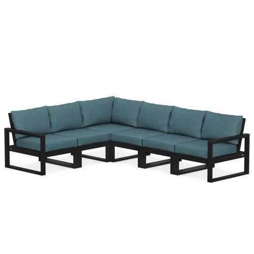 Polywood Furnishings - EDGE 6-Piece Modular Deep Seating Set in Black / Ocean Teal