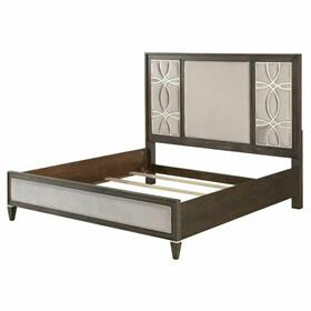 ACME Peregrine Eastern King Bed - 28007EK - Fabric & Walnut