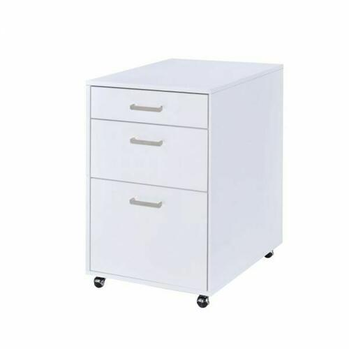 ACME Coleen File Cabinet - 92454 - White High Gloss & Chrome