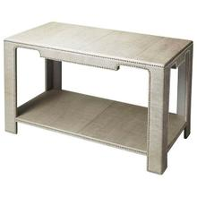 See Details - The clean lines, the luster of rich leather, and the multitude of shimmering silver finished nailheads all come together ensure this impeccably crafted Console Table will be a splendid addition to an already well-furnished room. Expertly crafted from wood solids and wood products.