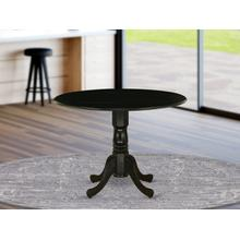 Dublin Dining Table Made of Rubber Wood with Two 9 Inch Drop Leaves, 42 Inch Round, Wirebrushed Black Finish