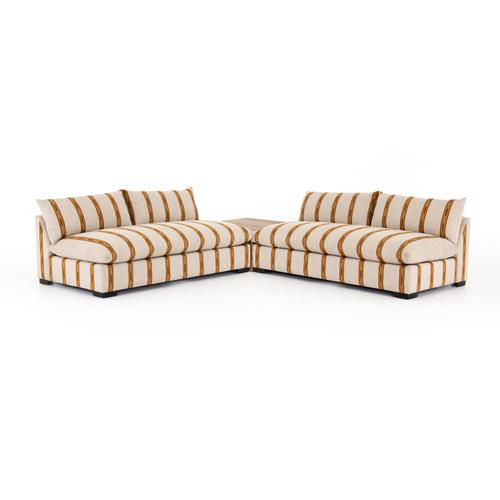 W/ Corner Table Configuration Zella Amber Finish Grant Sectional + Tables