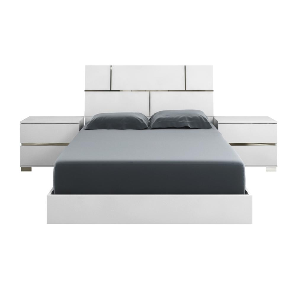 The Pisa King High Gloss White Lacquer W Stainless Steel Beds