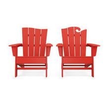 View Product - Wave 2-Piece Adirondack Set with The Wave Chair Left in Sunset Red