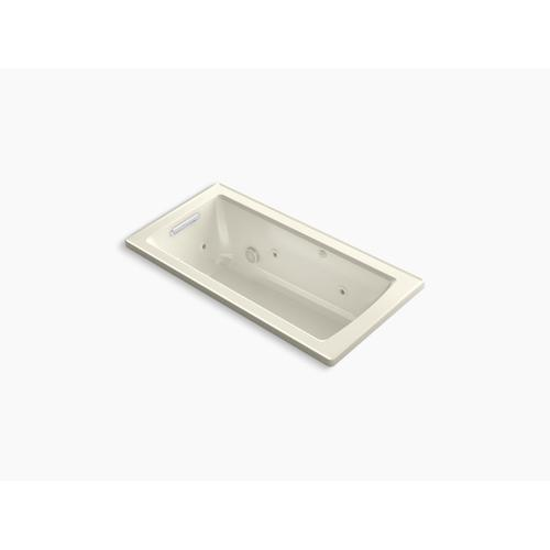 "Biscuit 60"" X 30"" Drop-in Whirlpool Bath With Heat and Comfort Depth Design"