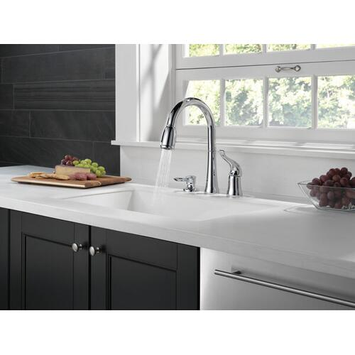 Chrome Single Handle Pull-Down Kitchen Faucet with Soap Dispenser