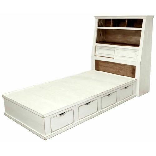 Million Dollar Rustic - W White Jumbo Twin Platform Storage Bed