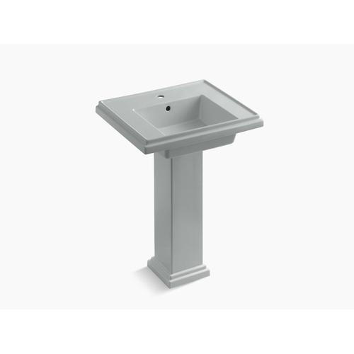 """Ice Grey 24"""" Pedestal Bathroom Sink With Single Faucet Hole"""