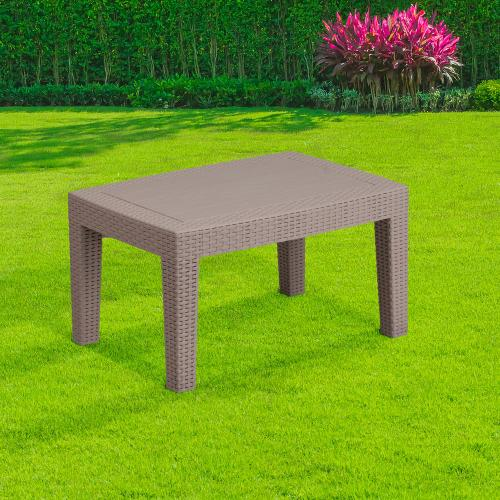 Light Gray Faux Rattan Coffee Table