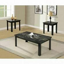 ACME Blythe 3Pc Pack Coffee/End Table Set - 80855 - Faux Marble & Black
