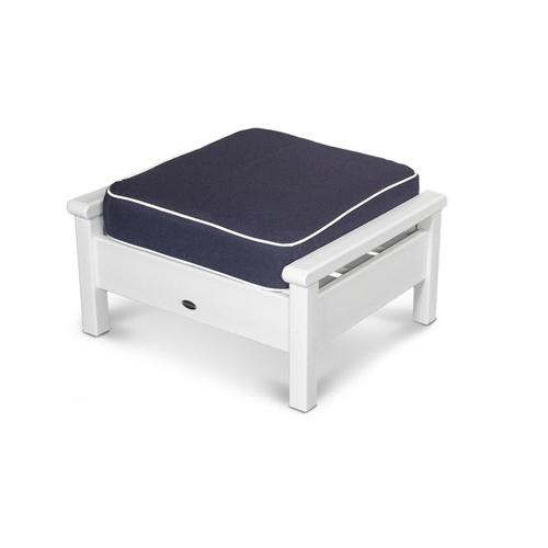 White & Navy / Natural Harbour Deep Seating Ottoman