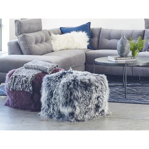 Moe's Home Collection - Lamb Fur Pouf Black Snow