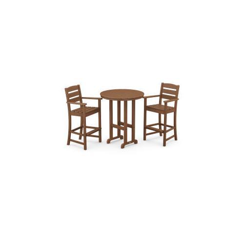 Polywood Furnishings - Lakeside 3-Piece Round Bar Arm Chair Set in Teak